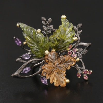 Sterling Silver Peridot, Citrine, and Amethyst Ring Featuring Foliate Motif
