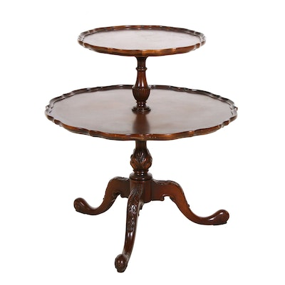 Queen Anne Style Two Tiered Pie Crust Table, Vintage