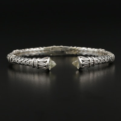 SeidenGang Sterling Silver Quartz Textured Hinged Cuff Bracelet