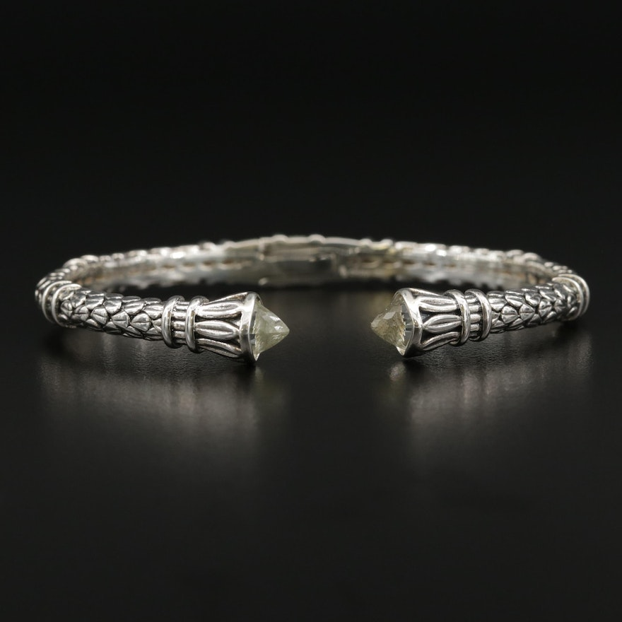 SeidenGang Sterling Silver Quartz Textured Hinged Cuff Bracelet