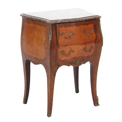 Louis XV Style Tulipwood and Marble Top Bedside Table, 20th Century
