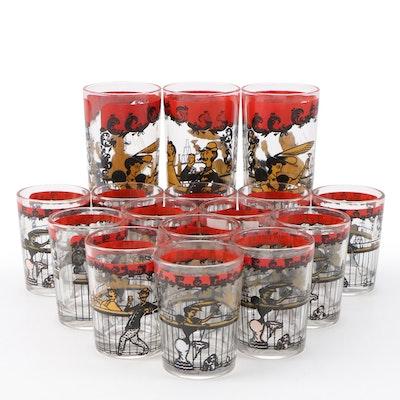 Hazel-Atlas Drinking Glasses with a Bar Scene