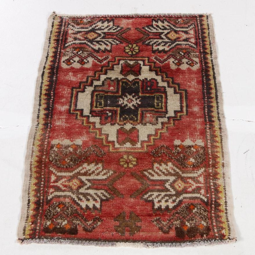 1'7 x 2'9 Hand-Knotted Turkish Village Rug, 1930s