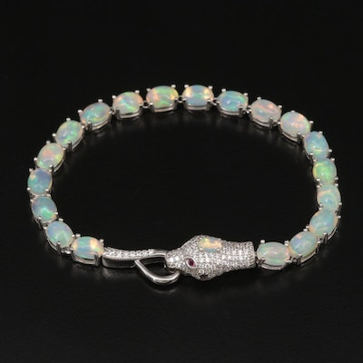 Sterling Silver Opal, Cubic Zirconia, and Synthetic Ruby Snake Bracelet