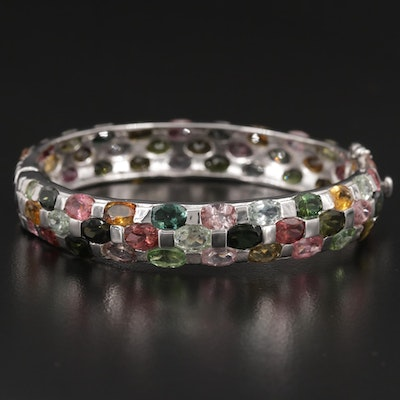 Sterling Silver Tourmaline and Sapphire Hinged Bracelet