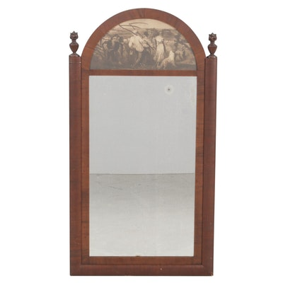 Federal Style Hardwood Wall Mirror with Lithograph