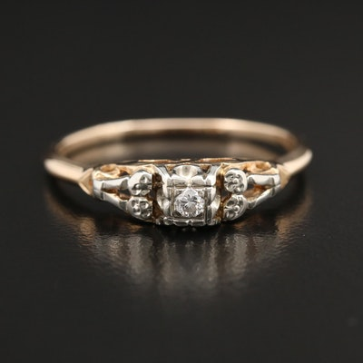 14K Yellow Gold Diamond Ring With 10K Yellow Gold Accents