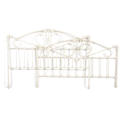 French Provincial Style Cast Iron Queen Size Headboard and Footboard