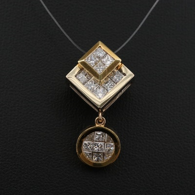 18K Yellow Gold and 1.75 CTW Diamond Drop Pendant