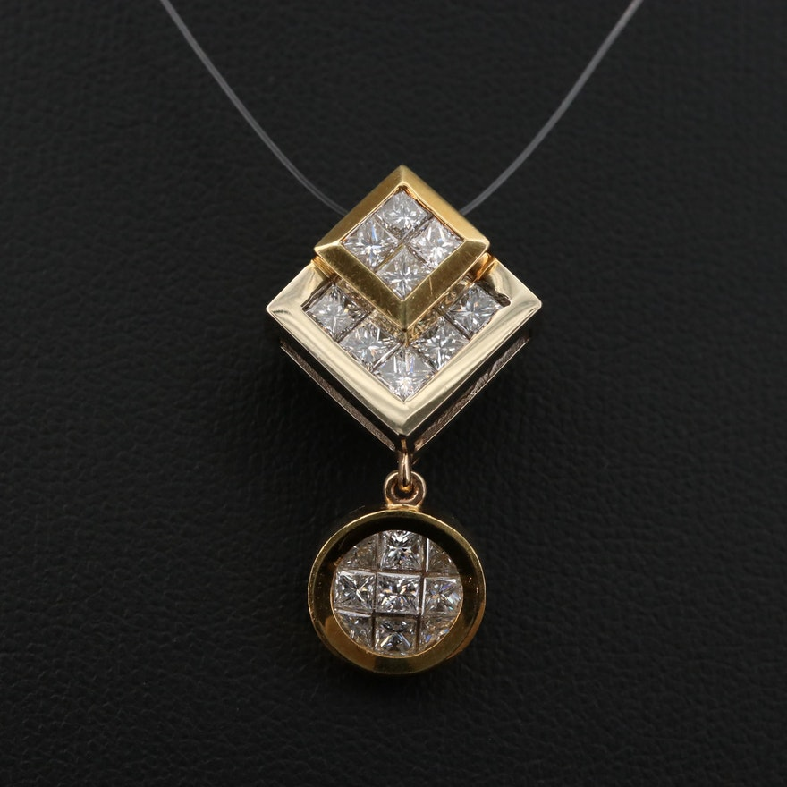 18K Yellow Gold and 1.75 CTW Diamond Drop Pendant