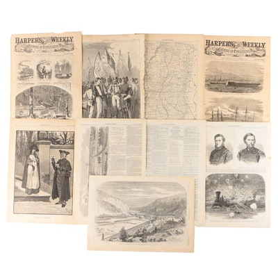 """""""Harper's Weekly"""" Single-Page Wood Engravings and More, Mid to Late 19th Century"""