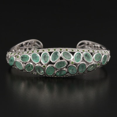 Sterling Silver Diopside and Emerald Cuff