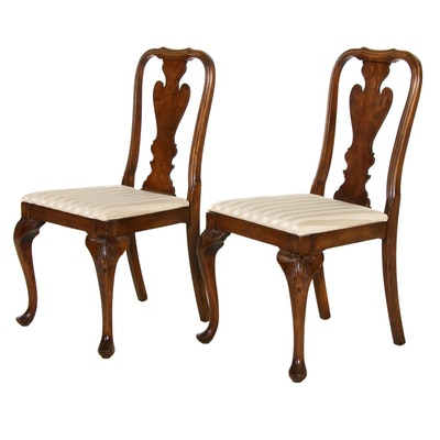 Pair of Queen Anne Style Burl Wood Upholstered Side Chairs, Mid-20th Century
