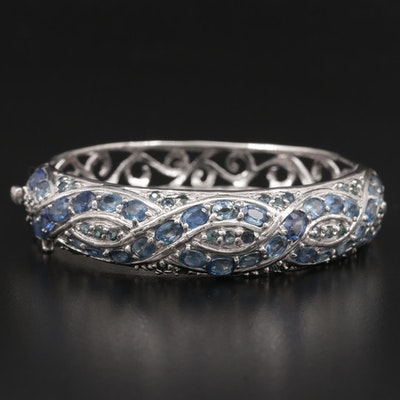Sterling Silver Sapphire Hinged Bracelet