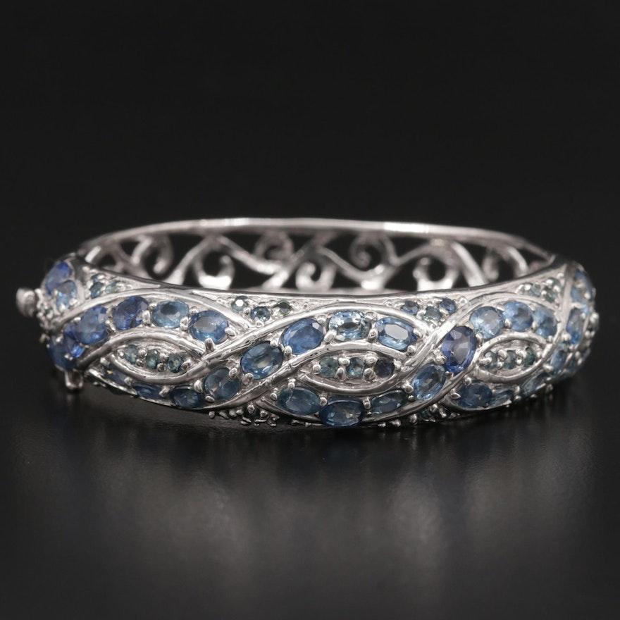 Sterling Silver Sapphire Hinged Bracelet