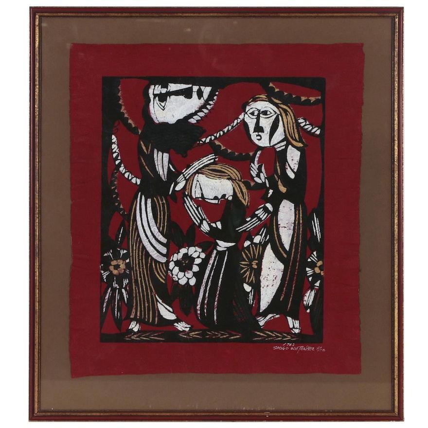 "Sadao Watanabe Japanese Stencil Print ""Christ Blesses Mary Magdalene"", 1963"