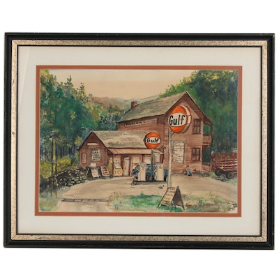 J. Saylor Watercolor Painting of Country Store, 1977