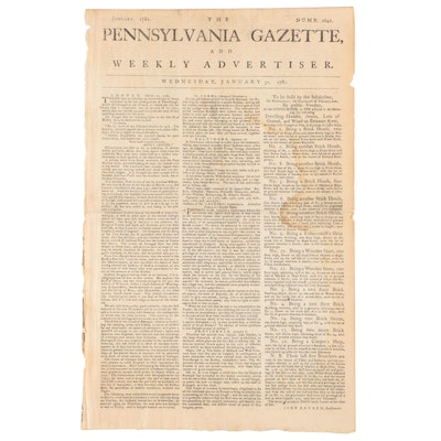 """""""Pennsylvania Gazette"""" Newspaper with Item from Benedict Arnold, January 1781"""