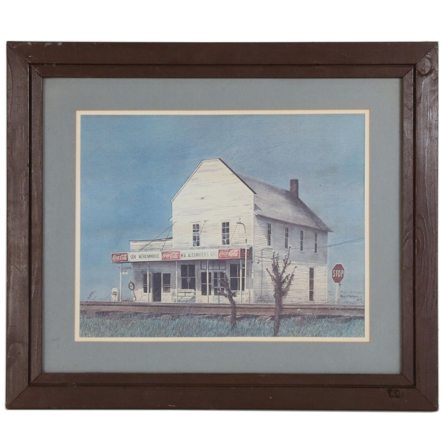 "Rex W. Robinson Offset Lithograph ""Tribute to the Country Store"", 1977"