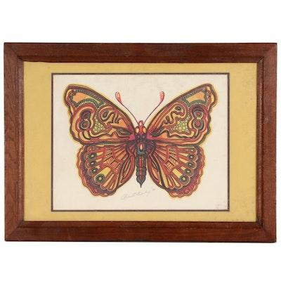 Robert Bailey Lithograph of Butterfly, 1973
