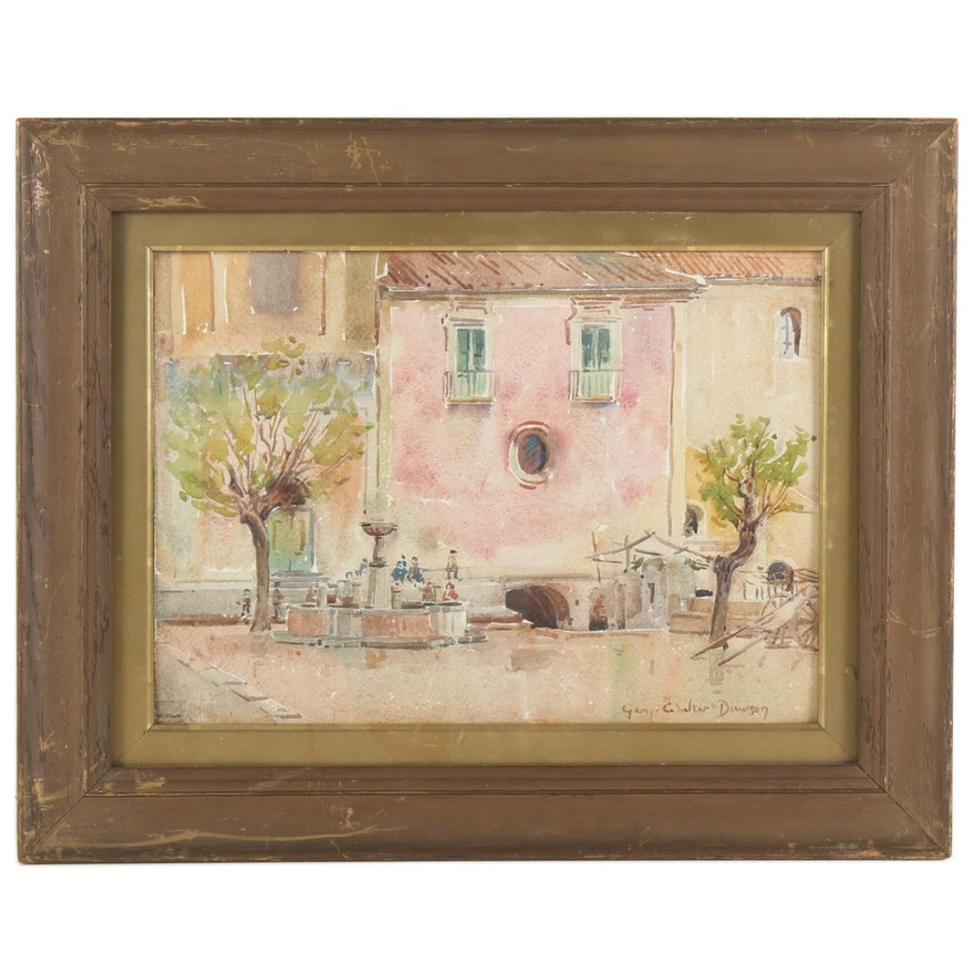 George Dawson Village Scene Watercolor Painting, Late 19th/Early 20th Century
