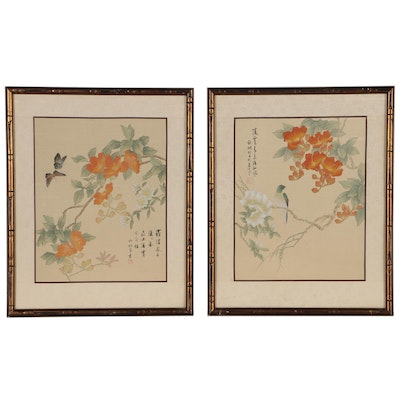 Japanese Serigraphs of Blooming Flowers