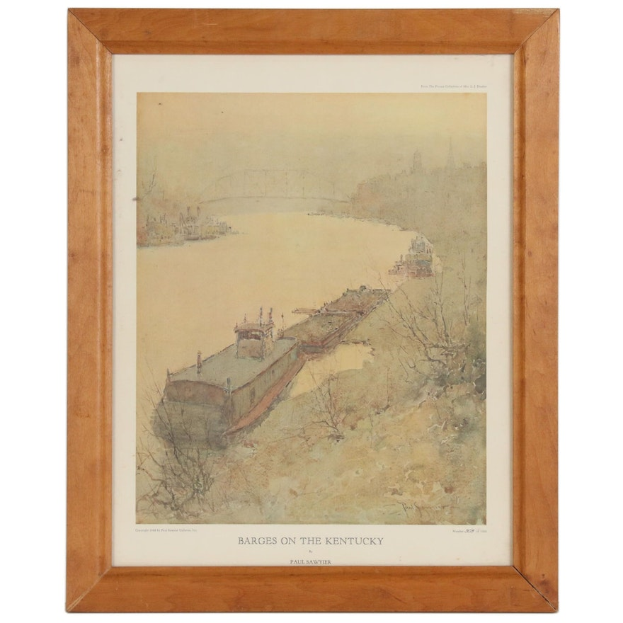 """Offset Lithograph after Paul Sawyier """"Barges on the Kentucky"""""""