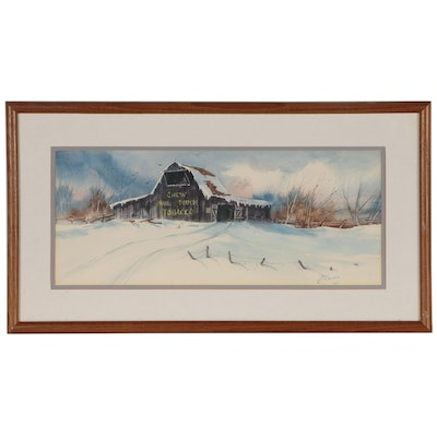 Winter Landscape Watercolor Painting, Late 20th century