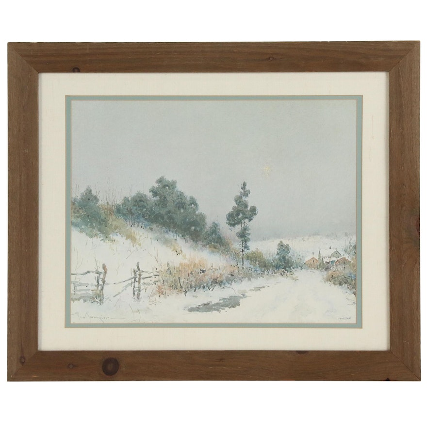 Offset Lithograph after Paul Sawyier of a Winter Landscape