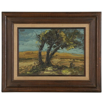 Jim Howard Rabby Landscape Oil Painting, 1975