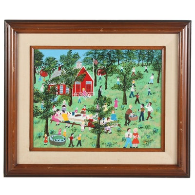"Stacia Lane Folk Art Acrylic Painting "" Last Day of School Picnic"", 1980"