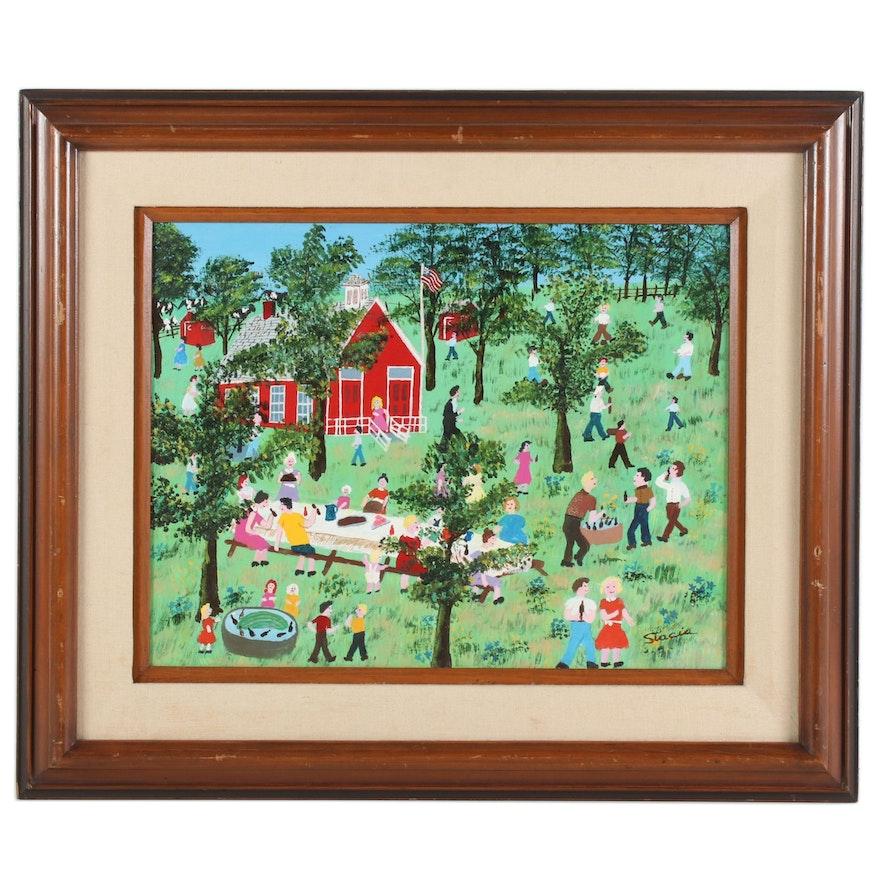 "Stacia Lane Folk Art Acrylic Painting "" Last Day of School Picnic"", 1980"