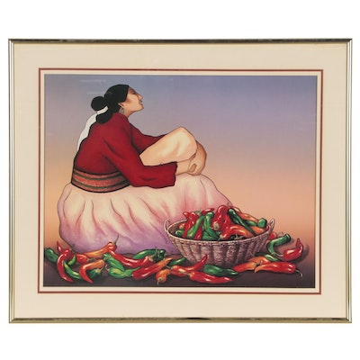 Offset Lithograph after R.C. Gorman of Woman with Peppers