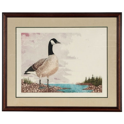 "Dan Mitra Etching with Aquatint ""Canadian Goose I"""
