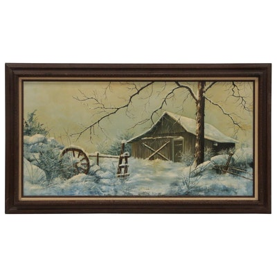 Anneliese D. Wahrenburg Winter Landscape Oil Painting, 1980