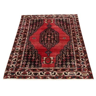4'2 x 6'7 Hand-Knotted Persian Malayer Rug, 1970s