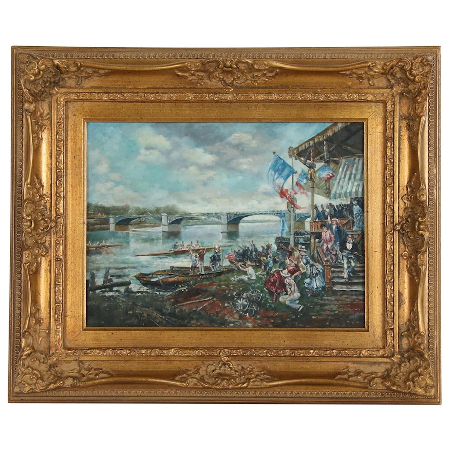 Genre Oil Painting of Rowing Competition