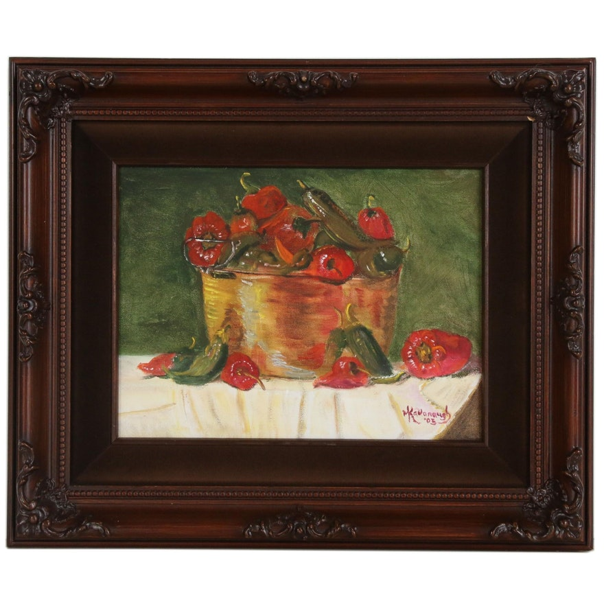 Kavanaugh Still Life Oil Painting of Peppers, 2005