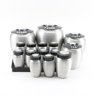 Kromex Spun Aluminum Kitchen Canisters and Spice Jars, 20th Century
