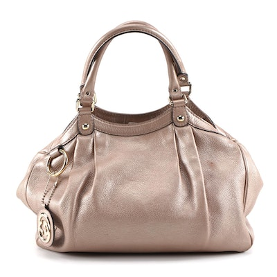 Gucci Sukey Satchel in Pale Rose Gold Glazed Pebbled Leather