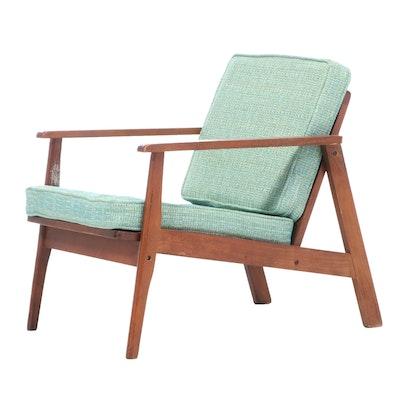 Mid Century Modern Walnut Armchair, Mid-20th Century