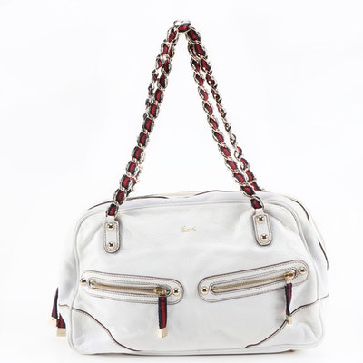 Gucci White Grained Leather and Web Stripe Trimmed Capri Bag