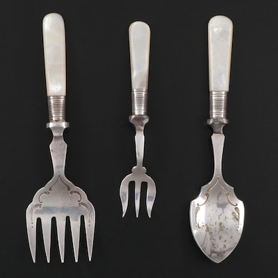 Victorian Mother-of-Pearl Handled Silver Plate Utensils, Early 20th Century