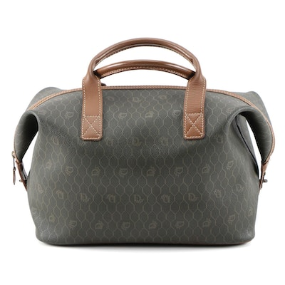 Christian Dior Weekender Bag in Honeycomb Coated Canvas and Light Brown Leather