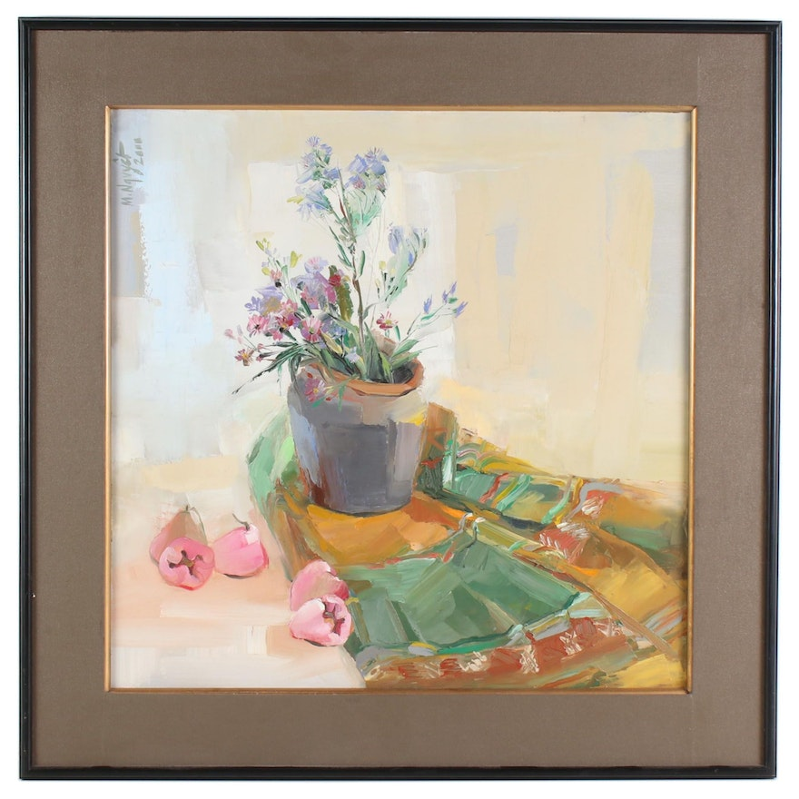 Floral Still Life Oil Painting on Canvas, 2011