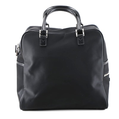 Burberry Black Nylon Carry-On Travel Bag with Leather Trim