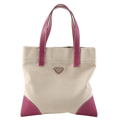 Prada Small Tote in Beige Canvas with Contrast Stitched Magenta Leather Trim