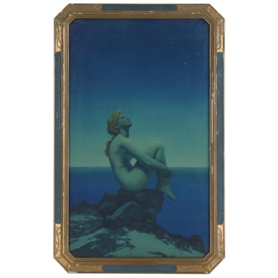 "Offset Lithograph after Maxfield Parrish ""Stars"" in an Art Nouveau Frame"