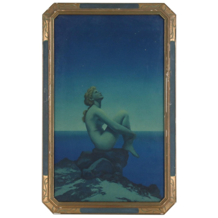 """Offset Lithograph after Maxfield Parrish """"Stars"""" in an Art Nouveau Frame"""