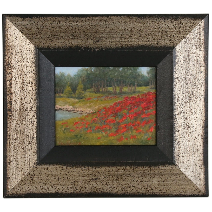 "Jane Kahler Oil Painting ""Cottonwood Poppies"""